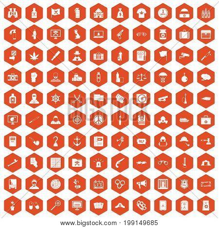 100 crime investigation icons set in orange hexagon isolated vector illustration