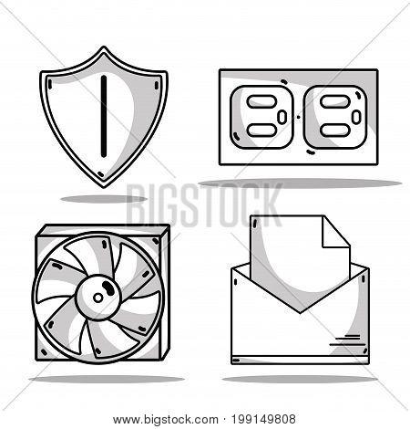 set technology data center service vector illustration