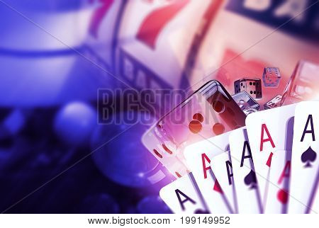 Blackjack Craps and Slots. Casino Games Concept 3D Rendered Illustration. Playing Cards Glassy Dices and the Fruit Machine in the Background. Vegas Games Concept.