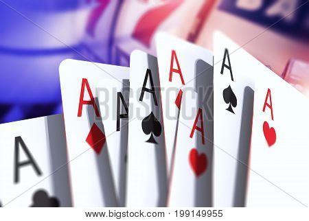 Twenty One. Blackjack Game Cards Concept 3D Rendered illustration. Blackjack Playing.