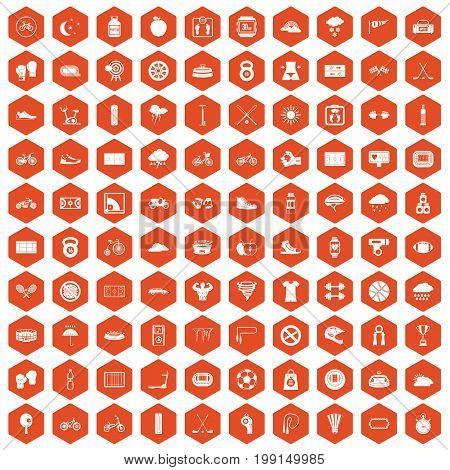 100 cycling icons set in orange hexagon isolated vector illustration