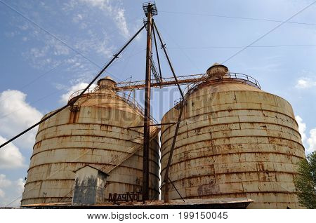 Waco, Texas - July 21, 2017: Magnolia Market Silos, built by Chip and Joanna Gaines the stars of television show Fixer Upper. A favorite Waco tourist stop
