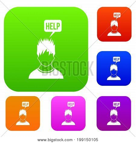 Man needs help set icon in different colors isolated vector illustration. Premium collection
