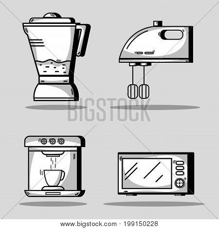 set kitchen utensils object to make food vector illustration