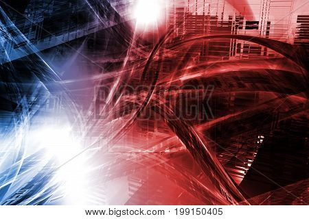 Digital Fusion Abstraction 2D Illustration. Blue and Red Colors. Abstract Futuristic Background.