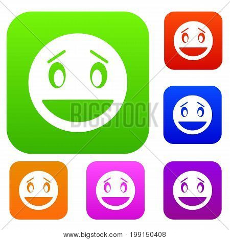 Confused emotset icon in different colors isolated vector illustration. Premium collection