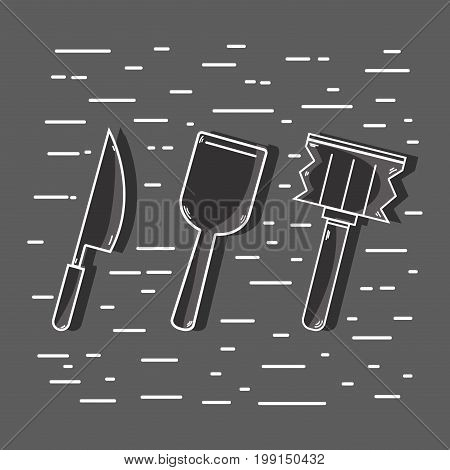 cuisine utensils object to used in the kitchen vector illustration