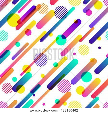 Abstract dynamic vector seamless pattern. Colorful motion geometric shapes overlapping background.