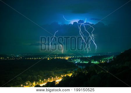 Electric Storm on a Horizon. Lesser Poland Europe. Stormy Night in Cracow.