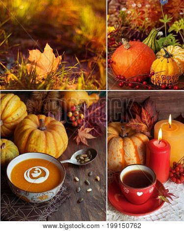 Autumn themed collage pumpkin soup autumn tea yellow leaves and candles