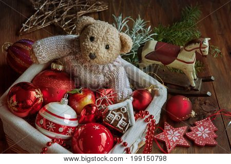 Christmas decor balls with bear toy wooden horse in the box