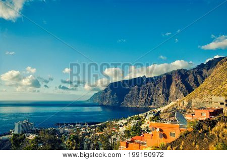 Beautiful view of Los Gigantes. Sunset landscape background. Tenerife Canary Islands Spain