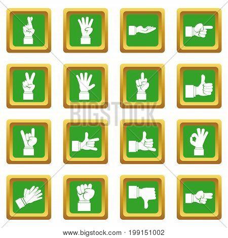 Hand gesture icons set in green color isolated vector illustration for web and any design