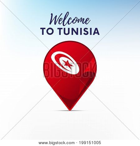 Flag of Tunisia in shape of map pointer or marker. Welcome to Tunisia. Vector illustration.