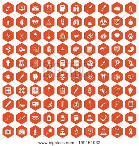 100 diagnostic icons set in orange hexagon isolated vector illustration