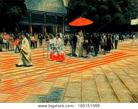 Digital painting of a Japanese wedding procession witht the priest leading and the bride and groom walking under a parasol at a shrine in Tokyo Japan