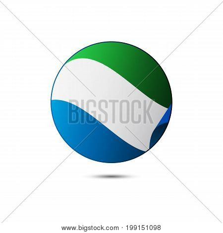 Sierra Leone flag button with shadow on a white background. Vector illustration.
