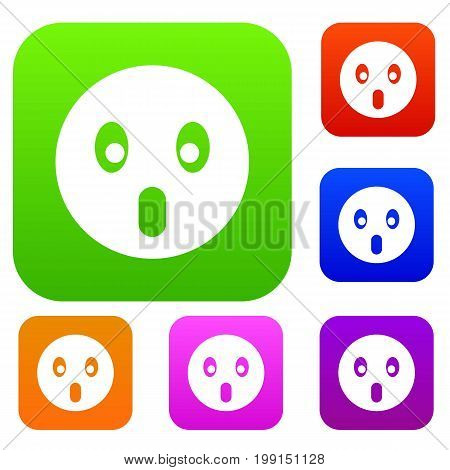Frightened emotset icon in different colors isolated vector illustration. Premium collection