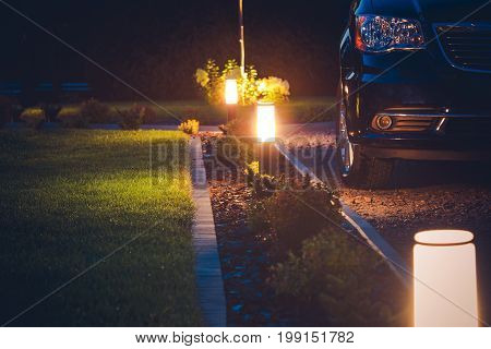 House Driveway Illumination. Elegant Front Yard Illumination.