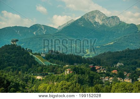 Innsbruck Ski Jump and Part of the City. Innsbruck Capital of Austria's Western State of Tyrol