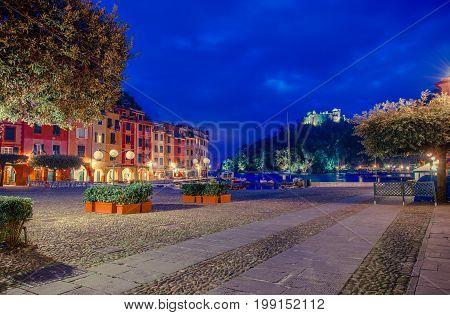 Italian Village of Portofino. Italian Riviera Coastline. Village at Night.