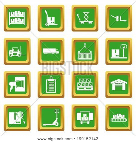 Logistic icons set in green color isolated vector illustration for web and any design