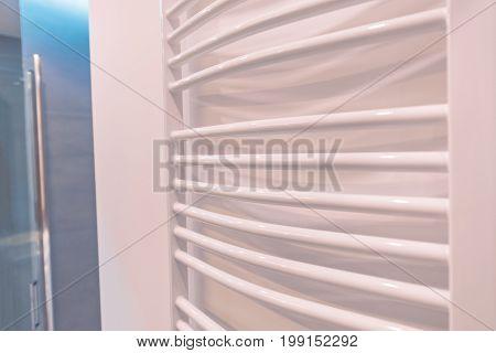 Modern White Bath Towel Warmer. Bathroom Heating Equipment