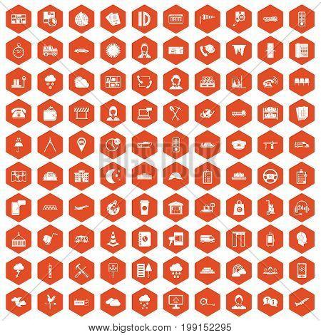 100 dispatcher icons set in orange hexagon isolated vector illustration