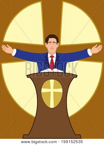 Flat vector preacher is spreading his arms during worship service