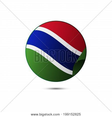 Gambia flag button with shadow on a white background. Vector illustration.