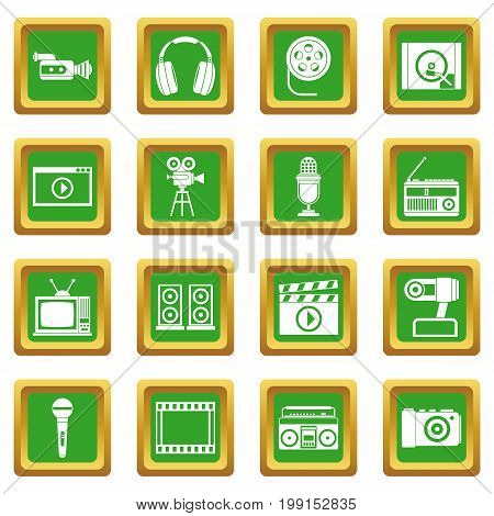 Audio and video icons set in green color isolated vector illustration for web and any design