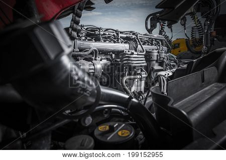 Semi Truck Tractor Engine Servicing. Powerful Truck Engine Repair.