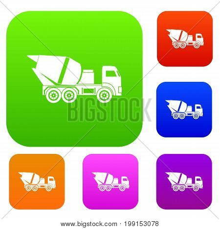 Building mixer for concrete set icon in different colors isolated vector illustration. Premium collection