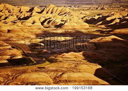 South Dakota Badlands Landscape. Badlands Scenery. United States.