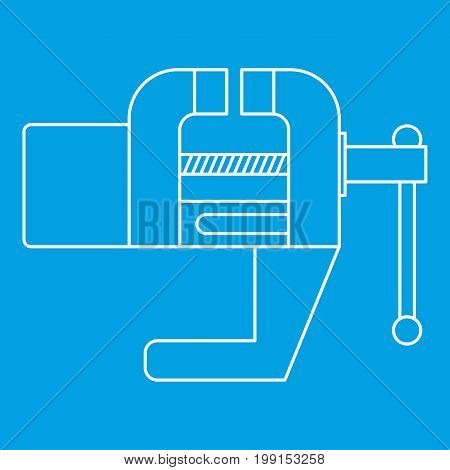 Vise tool icon blue outline style isolated vector illustration. Thin line sign