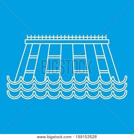 Hydroelectric icon blue outline style isolated vector illustration. Thin line sign