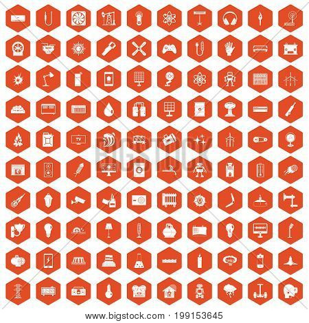 100 energy icons set in orange hexagon isolated vector illustration