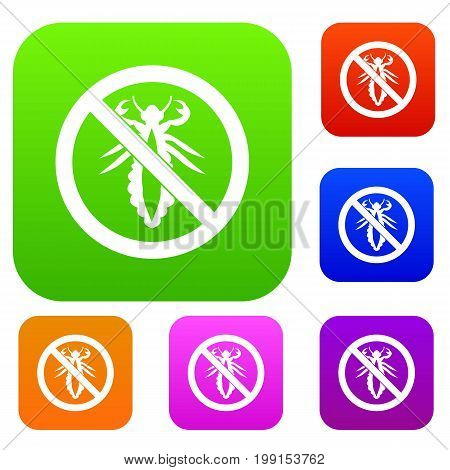 No louse sign set icon in different colors isolated vector illustration. Premium collection