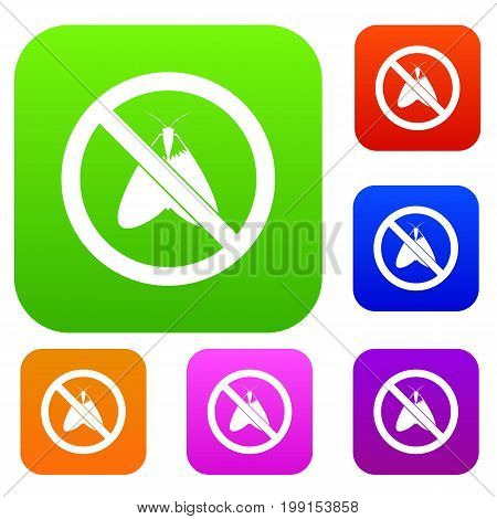 No moth sign set icon in different colors isolated vector illustration. Premium collection