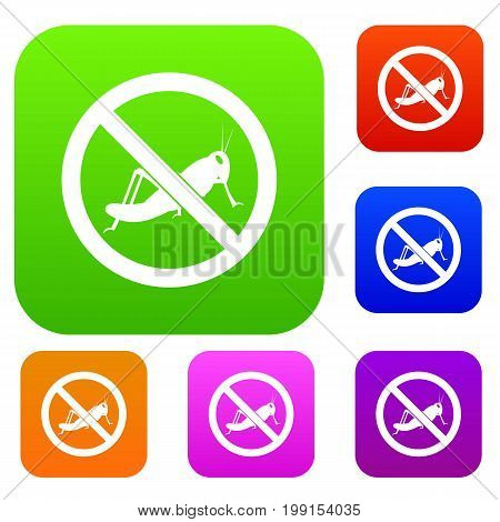No locust sign set icon in different colors isolated vector illustration. Premium collection