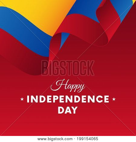 Banner or poster of Colombia independence day celebration. Waving flag. Vector illustration.