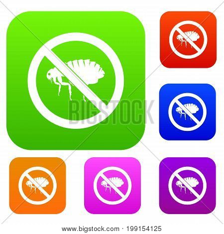 No flea sign set icon in different colors isolated vector illustration. Premium collection
