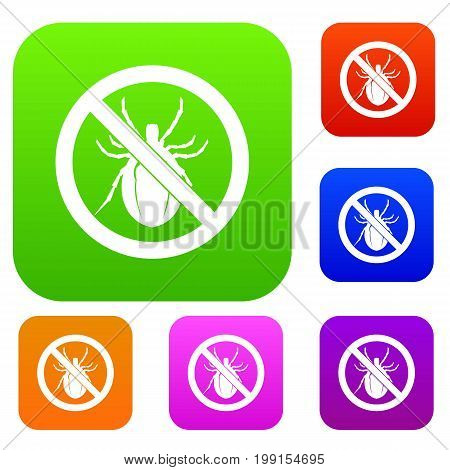 No bug sign set icon in different colors isolated vector illustration. Premium collection