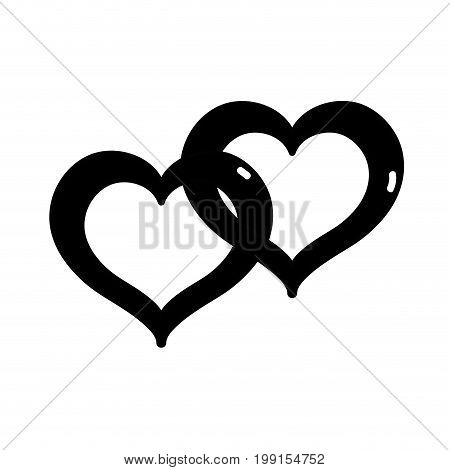 contour nice heart symbol to love and passion vector illustration