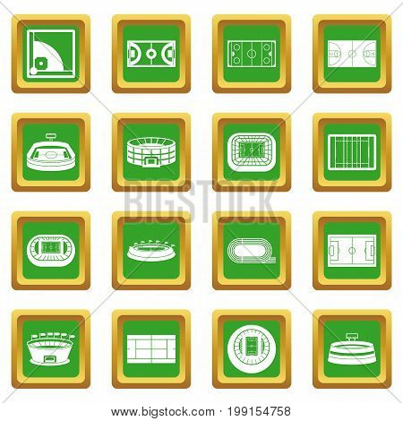 Sport stadium icons set in green color isolated vector illustration for web and any design