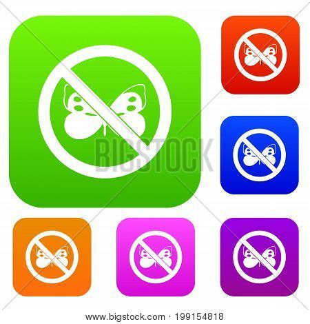 No butterfly sign set icon in different colors isolated vector illustration. Premium collection