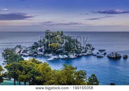 Panoramic view of isola bella and its marina in the nearly of the city of tahormina sicily