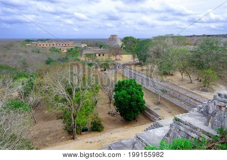 Landscape of temples in the archeological area in the Mayan ruins of Uxmal Mexico