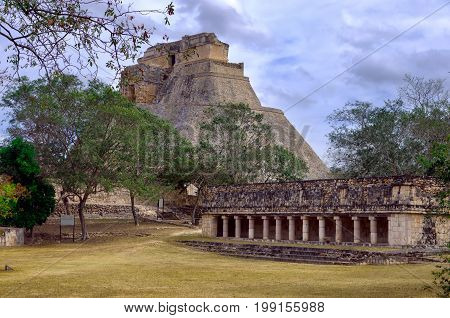 House of the Magician pyramid and temple in the Mayan ruins of Uxmal Mexico