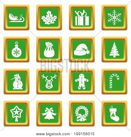 Christmas icons set in green color isolated vector illustration for web and any design